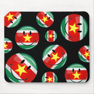 Glossy Round Suriname Flag Mouse Pad
