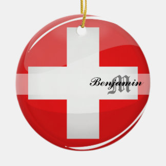 Glossy Round Swiss Flag Double-Sided Ceramic Round Christmas Ornament