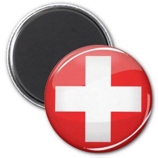 Glossy Round Swiss Flag Magnet