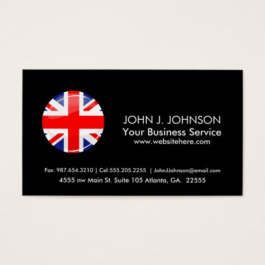 Glossy Round UK English Flag Business Card
