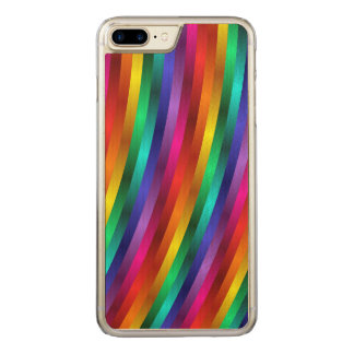 Glossy Shiny Rainbow Stripes iPhone 6 Plus Carved iPhone 8 Plus/7 Plus Case