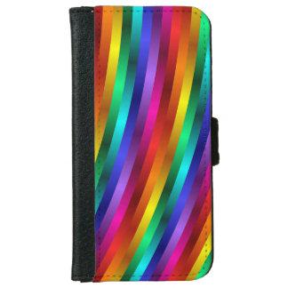 Glossy Shiny Rainbow Stripes iPhone 6 Wallet Case