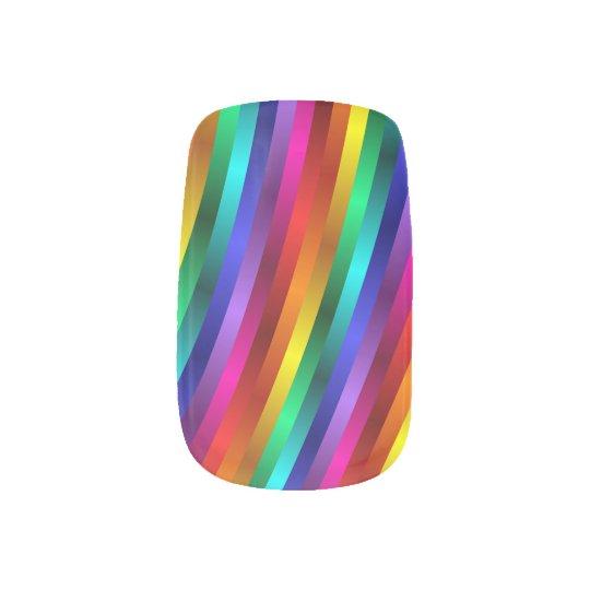 Glossy Shiny Rainbow Stripes Minx Nails Minx Nail
