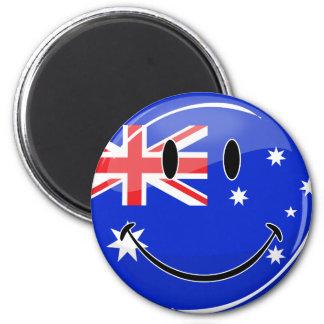 Glossy Smiling Australian Flag 6 Cm Round Magnet