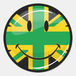 Glossy Smiling Jamaican British Flag Round Sticker