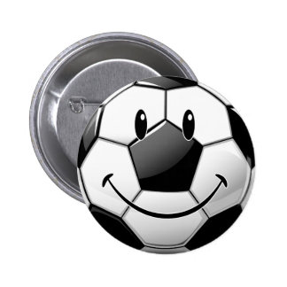Glossy Smiling Toon Soccer Ball 6 Cm Round Badge