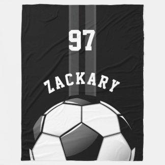 Glossy Soccer Ball Black Fleece Blanket