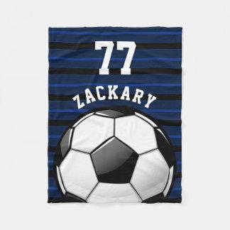 Glossy Soccer Ball Blue Fleece Blanket