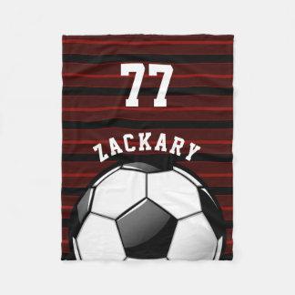 Glossy Soccer Ball Red Fleece Blanket