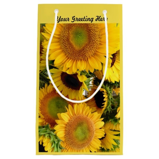 Glossy Sunflower Gift Bag Personalise Greeting