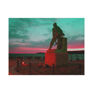 GLOUCESTER FISHERMAN STATUE WRAPPED CANVAS PRINT