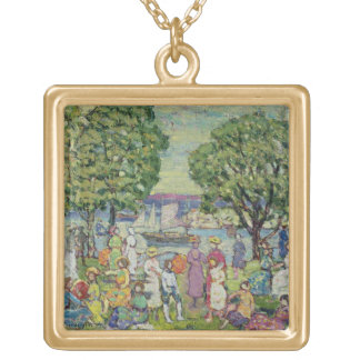 Gloucester Harbour (oil on canvas) Gold Plated Necklace