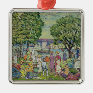Gloucester Harbour (oil on canvas) Silver-Colored Square Decoration