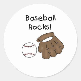 Glove and  Ball Baseball Rocks Round Stickers