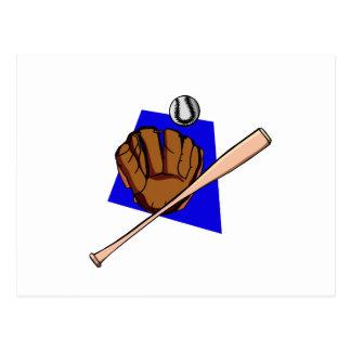 glove ball & bat postcard