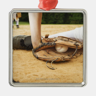 Glove of baseball player tagging runner out, Silver-Colored square decoration