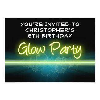 Glow Birthday Party, Blue/Yellow Blacklight Card