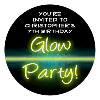 Glow Birthday Party Yellow Green Blacklight Invitations