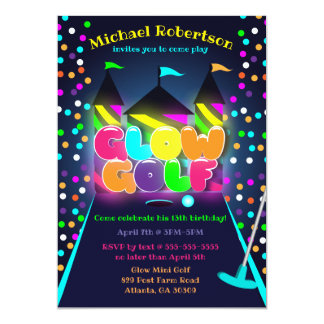 GLOW GOLF PARTY INVITATIONS