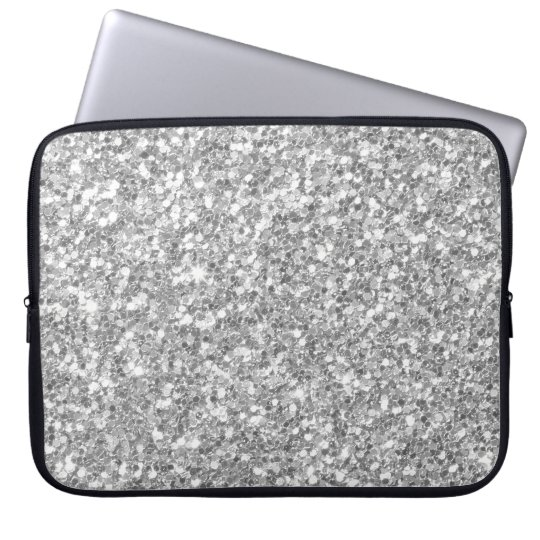 Glow Grey And White Glitter Texture Laptop Sleeve