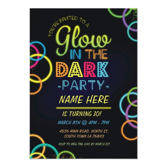 Glow In The Dark Birthday Invite Neon Kids