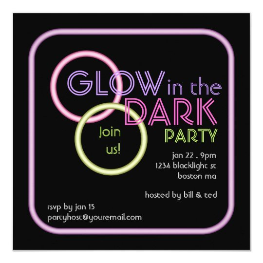 Glow in the Dark Blacklight Party Invitation