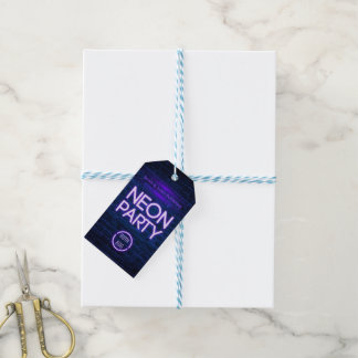Glow in the Dark Neon Corporate party invitation Gift Tags