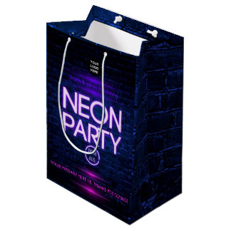 Glow in the Dark Neon Corporate party invitation Medium Gift Bag