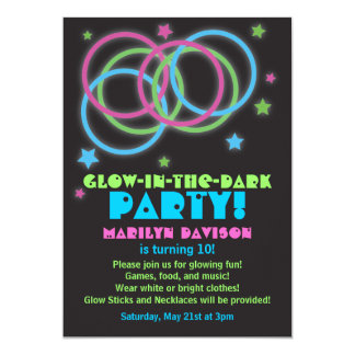 Glow in the Dark Party Invitations Rings & Stars 2