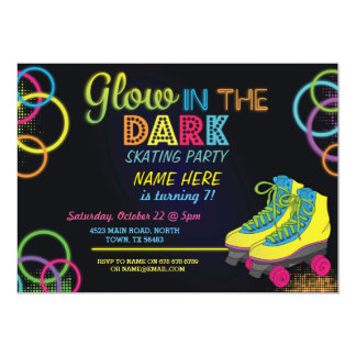 Glow In The Dark Roller Skating Birthday Invite
