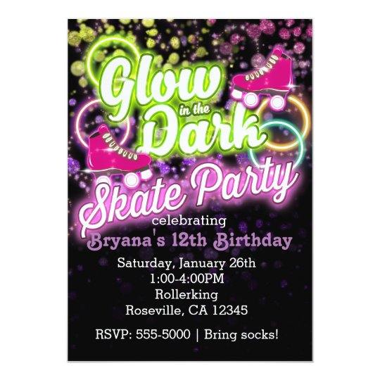 GLOW in the dark SKATE PARTY Birthday Invitation
