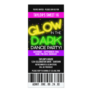 Glow in the Dark Sweet 16 Party 10 Cm X 24 Cm Invitation Card