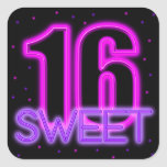 Glow in the Dark Sweet 16 Square Stickers