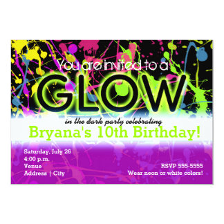 Glow Neon Paint Splatter Birthday Party Invitation