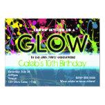 Glow neon paint splatter birthday party invitation
