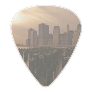 Glow of sunset during stormy skies over East Acetal Guitar Pick