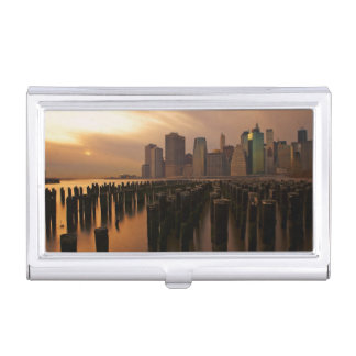 Glow of sunset during stormy skies over East Business Card Holder