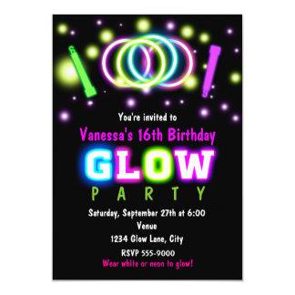GLOW PARTY Birthday Neon Black Light Invitation