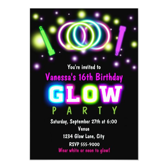 GLOW PARTY Birthday Neon Black Light Invitation