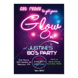 Glow Party Eighties 80s Invitation