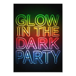 GLOW PARTY Glow in the Dark Birthday Party 13 Cm X 18 Cm Invitation Card