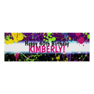Glow Party Paint Splatter Neon Birthday Banner Poster