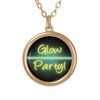 Glow Party, Yellow/Green Blacklight Gold Plated Necklace