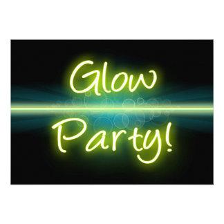 Glow Party Yellow Green Blacklight Invitation
