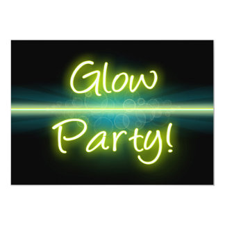 "Glow Party, Yellow/Green Blacklight 5"" X 7"" Invitation Card"
