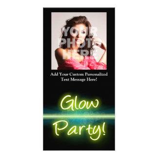 Glow Party, Yellow/Green Blacklight Photo Cards