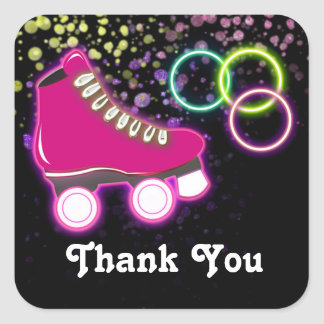 Glow Roller Skate Birthday Party Favor Sticker