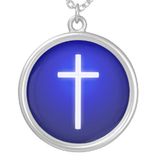 Glow White Religious Cross Silver Plated Necklace