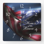 Glowing American Flag/Home of the Brave Wall Clock