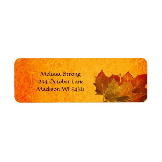 Glowing Autumn Leaves in Orange Custom Return Address Label